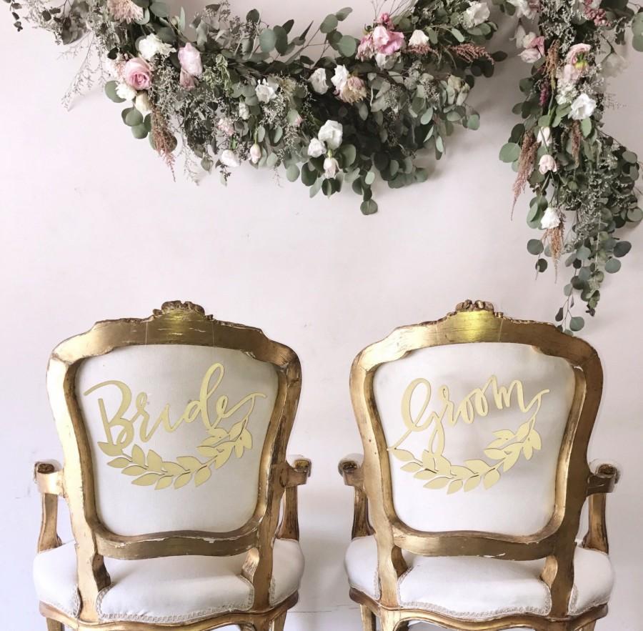 Свадьба - Half Wreath Bride and Groom Laser Cut Wood Chair Backs