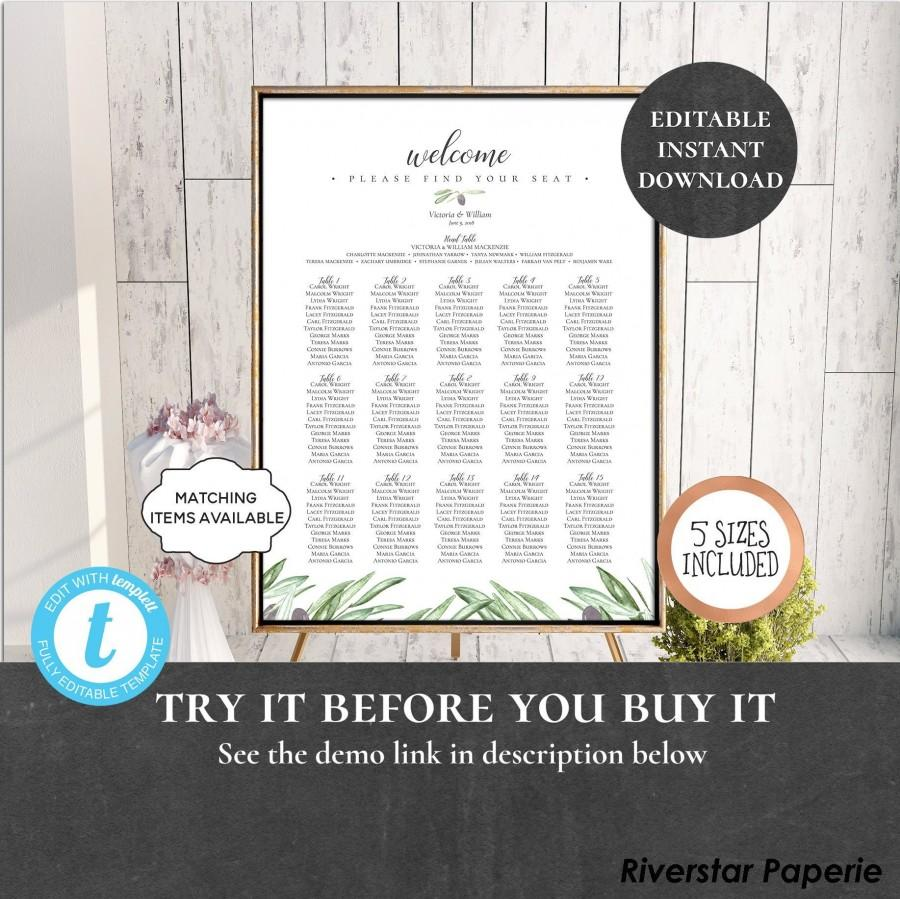 Свадьба - Wedding Seating Chart Table Assignment Poster Reception Dinner Table Name Board Find Your Seat Plan DIY Template Olive Mediterranean PCOLWS
