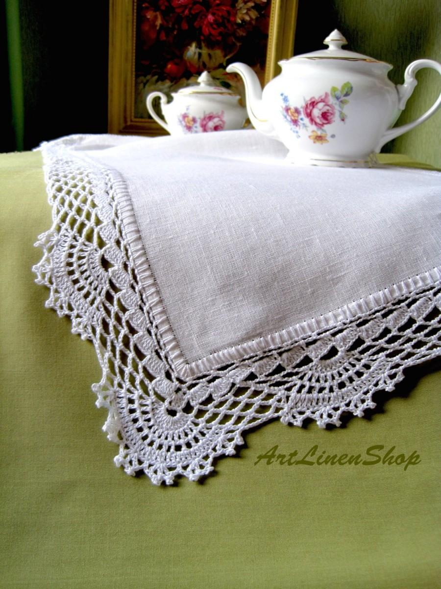 Mariage - Wedding tablecloth Linen table runner White doily Lace table runner Natural linens White table runners Crocheted doily Kitchen tablecloth