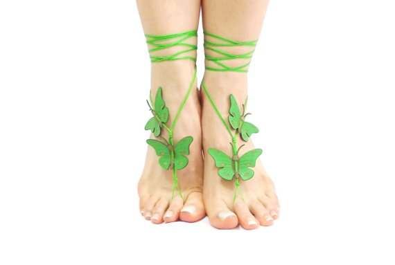 Wedding - Green genuine leather butterfly barefoot sandal, bridesmaid jewelry, wedding sandles, bridal sandals, Grass Green