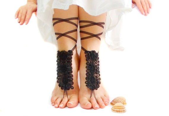 Wedding - Black lace barefoot sandal, lace foot jewelry, black anklets, beach wedding, barefoot sandles, festival shoes, gothic shoes, goth wedding