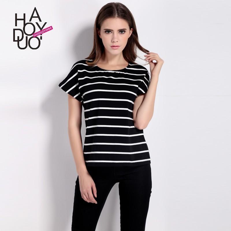 Wedding - Summer 2017 new sleek, minimalist black and white striped short sleeve loose women's t-shirt - Bonny YZOZO Boutique Store