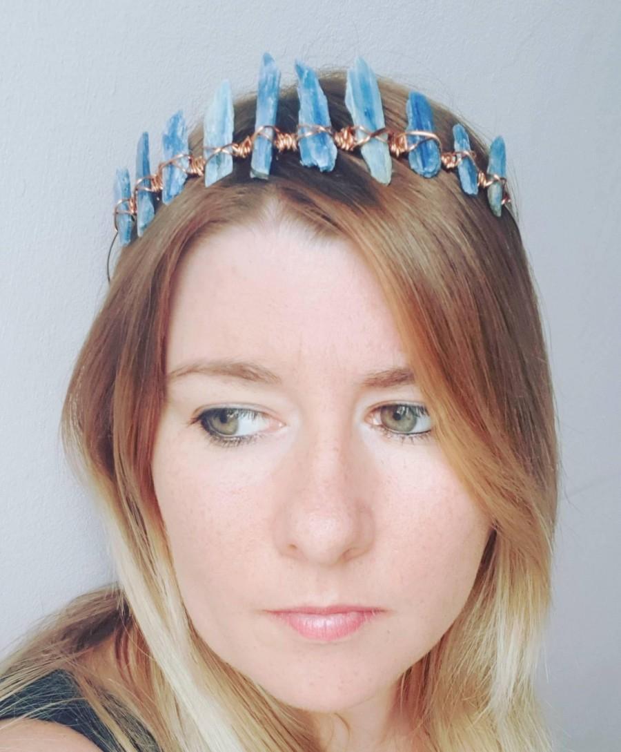 Mariage - Crystal Crown, Blue Kyanite Wedding Crown, Wedding Tiara, Crystal Hair Jewellery,Festival Crown Hippy, Boho, Wedding Headpiece, Blue Kyanite