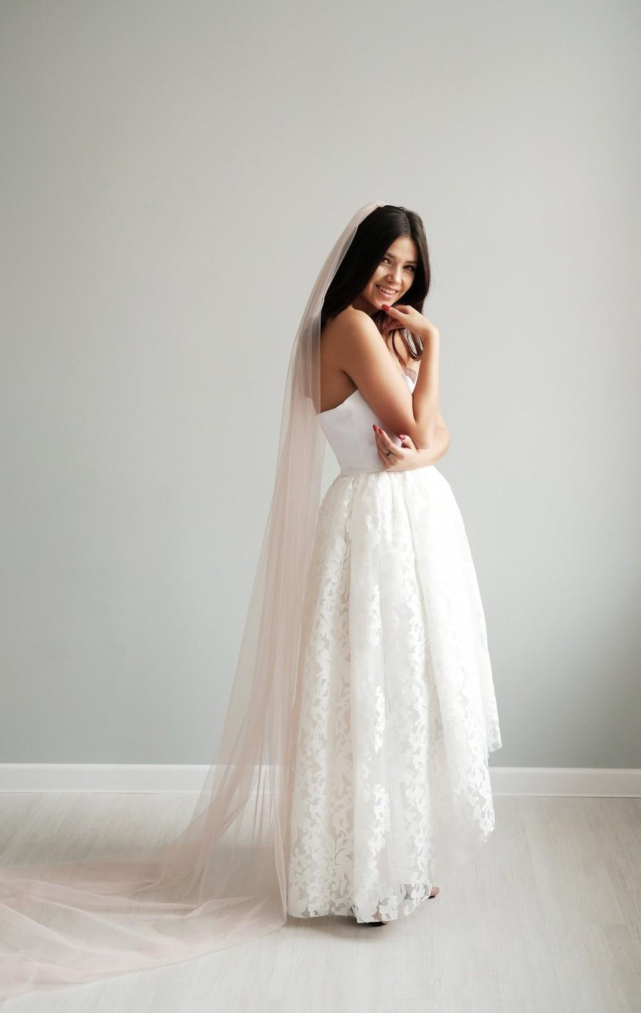 Mariage - Blush wedding veil, Bridal veil, Pink veil, Wedding veil, Veil wedding, Veil bridal, Champagne veil
