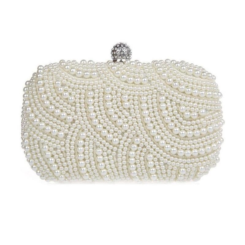 زفاف - Couture Bridal Accessories - Ivory Beaded Pearl Wedding Clutch / Purse / Evening Bag with Rhinestones Embellished Clasp &  Shoulder-Chain