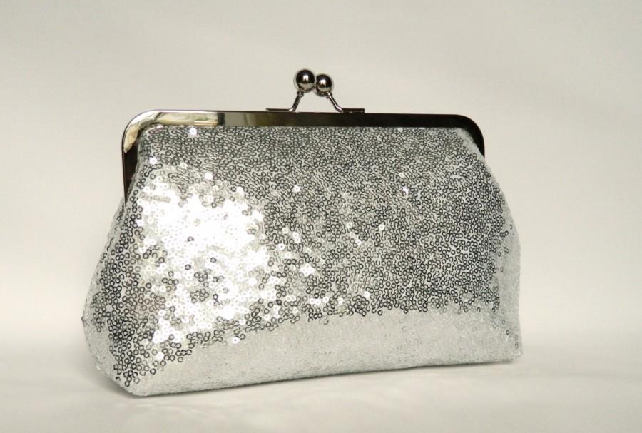 Hochzeit - Silver Sequin Clutch, Sequin Clutch, Wedding Clutch, Evening Sequin Clutch, Bridal Sequin Clutch, Bridesmaids Clutch