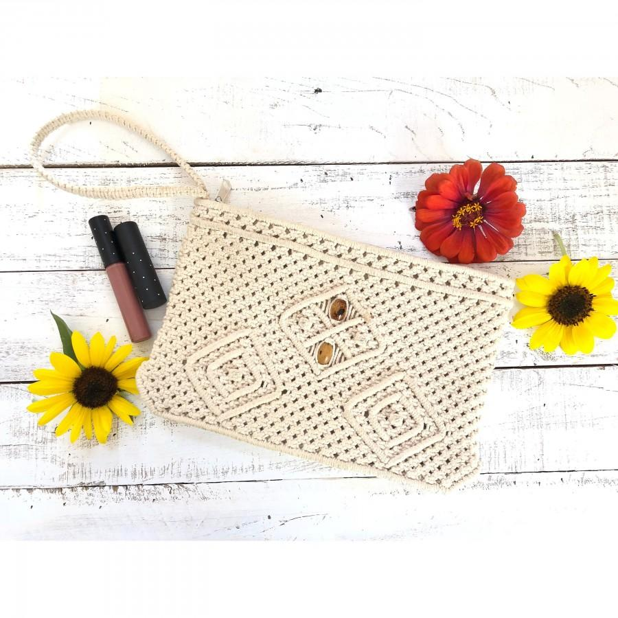 Mariage - Vintage Macrame Clutch+1970's Macrame Wristlet with Wooden Beads+Vintage Macrame Pouch+Macrame Purse+Hand Made Macrame Clutch+Vintage Purse