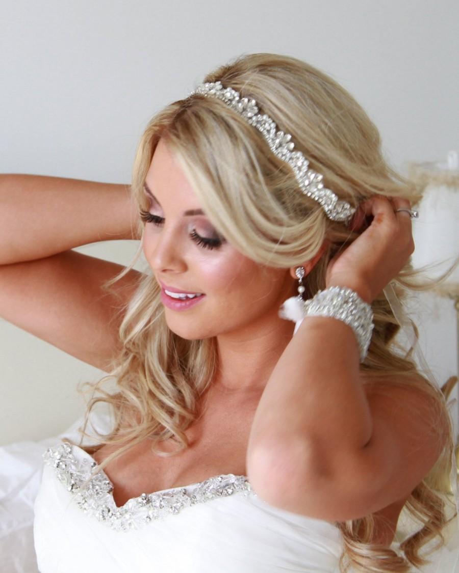 Hochzeit - Opal Hairwrap - Crystal Vintage Wedding Bride Headband Hair Tiara Hairband Great Gatsby Vintage Glam Rhinestone Pearls Bridesmaid