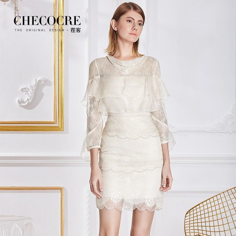 Mariage - Attractive Split Front Scoop Neck 3/4 Sleeves Organza Frilled Lace Dress - Bonny YZOZO Boutique Store
