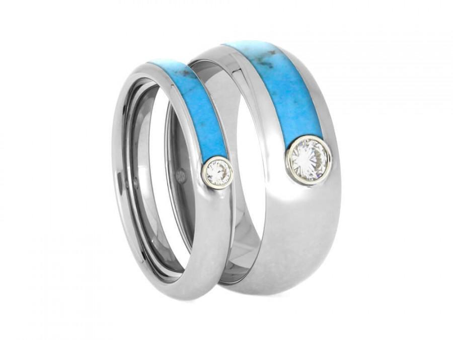 Свадьба - Turquoise Wedding Band Set, Matching Moissanite Rings