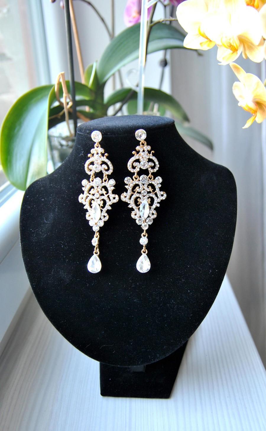 Mariage - Gold Chandelier CHRISSY Vintage Crystal Bridal Earrings Long Bridal Victorian Earrings Wedding Jewelry drop wedding bridal Earrings