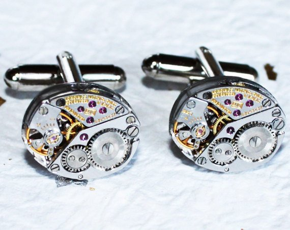 Wedding - LONGINES Men Steampunk Cufflinks - Luxury Swiss Silver Vintage Watch Movement Steampunk Cufflinks Watch Cuff Links Men Gift Boxing Day Sale