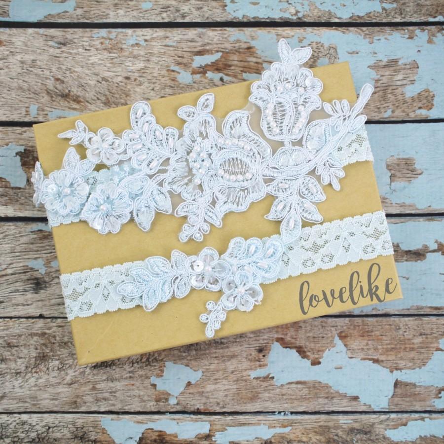Hochzeit - Wedding Garter Set, Light Blue Beaded Lace Garter Set,Bridal Wedding Grter,Wedding Garter Set,White Lace Garter Set, Style No. GT-76