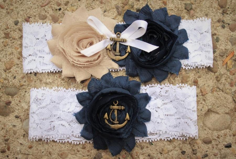 Wedding - Marine / Navy Wedding Garter w/ Anchor Blue and Gold -  Marine Military Garter Set, military wedding garter, Nautical wedding, lace garter