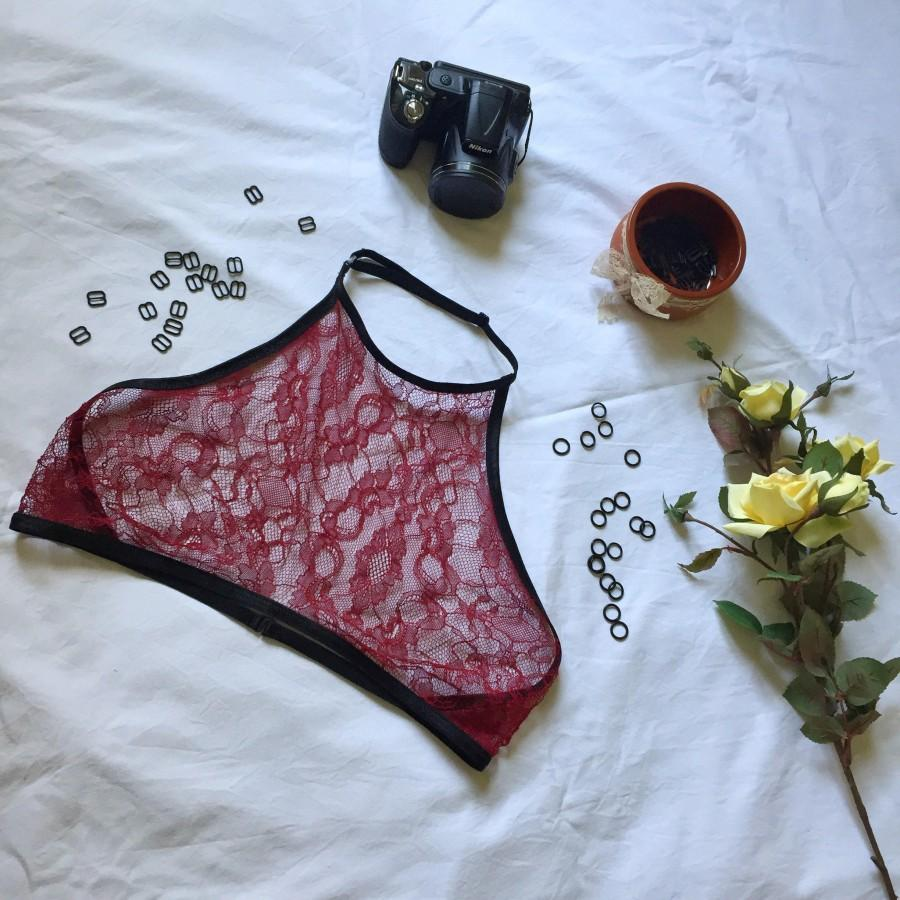 Mariage - Red sexy sheer lingerie gift, summer trends, hot pin up lingerie, lace halter neck top festival bralette, women undies, exotic dance wear