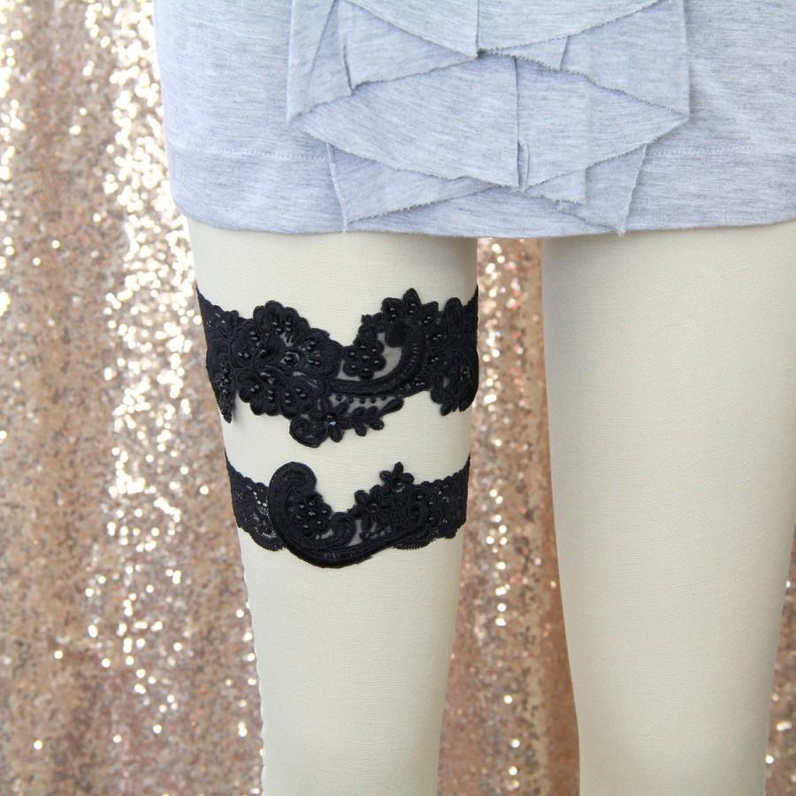 Wedding - Black Pearl Beaded Lace Wedding Garter Set ,Black Lace Garter Set, Toss Garter ,Black Garter Belt  / GT-53