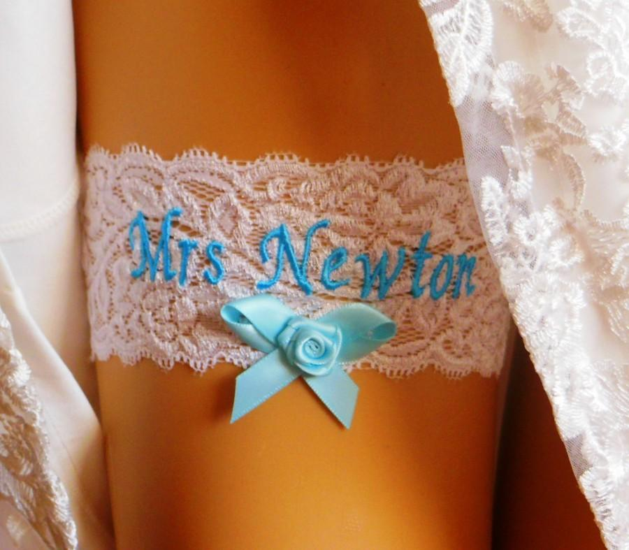 Wedding - Wedding garter for bride. Something Blue. White Bridal Garter. Personalised with Bride and Grooms Names. Blue embroidered names.