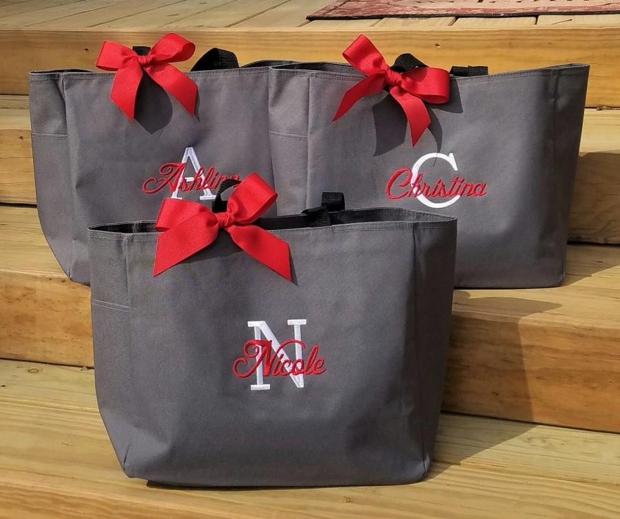 Mariage - Set of 3 Bridesmaid Tote Bags Personalized Bridesmaids Gifts Monogrammed Wedding Bags