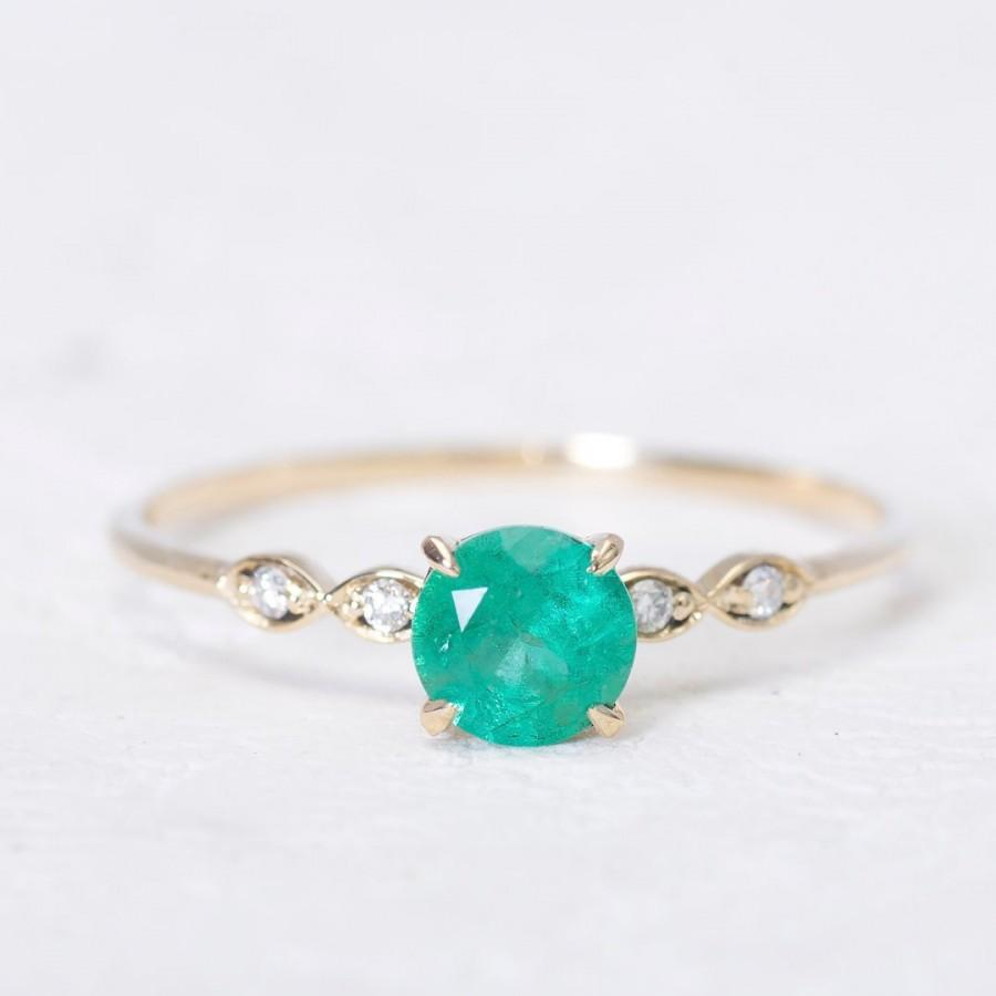Wedding - Gold Emerald Ring with diamonds, Emerald Ring, Emerald Engagement ring, Engagement ring, Ring for Women, Diamond Engagement ring for women
