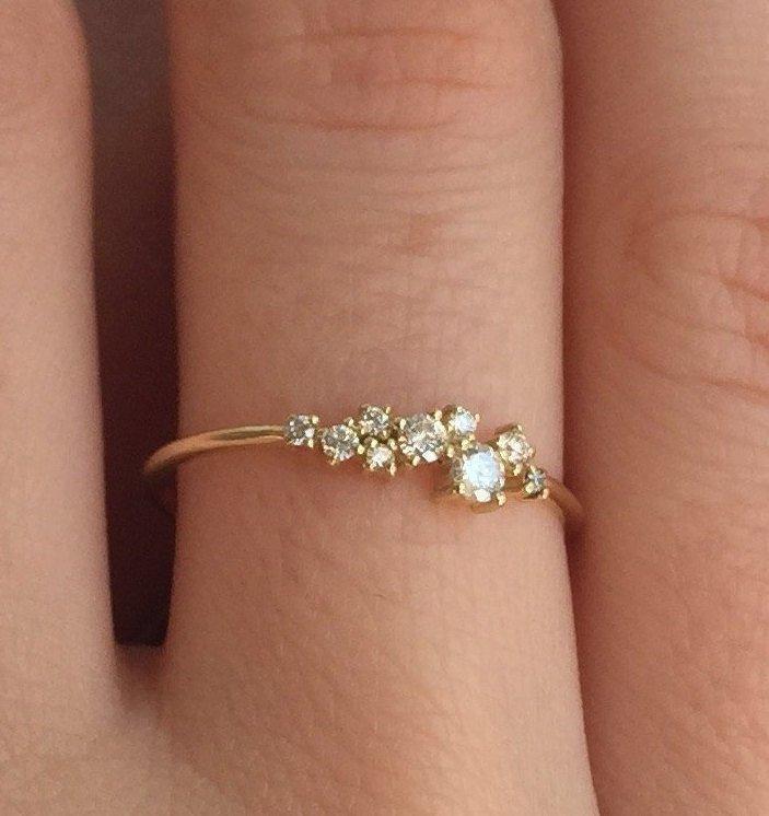 زفاف - Diamond Ring For Women, 14K Gold Diamond Ring, Ring For Women, Diamond Band, Wedding Diamond Band, Wedding Ring Women, Gold Diamond Ring