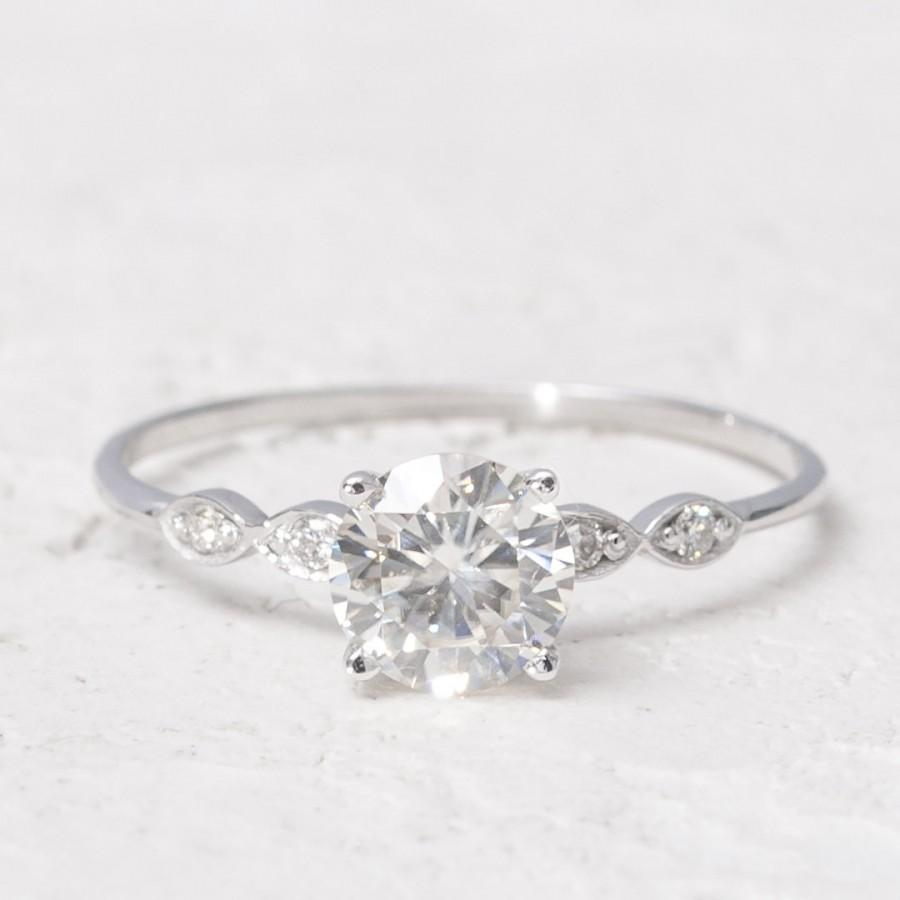 Hochzeit - Ring with Moissanite and Natural Diamonds / 14 K Solid White Gold / Engagement Ring