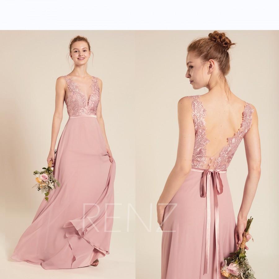 Mariage - Bridesmaid Dress Dusty Rose Chiffon Dress,Wedding Dress,Illusion Lace V Neck Maxi Dress,V Back Party Dress,Sleeveless Evening Dress(L397B)