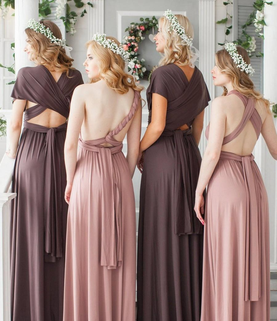Mariage - Infinity Dress, Convertible Dress, Pale Rose Bridesmaid Dress, Mauve party dress, Prom dress, Multiway dress, Long Bridesmaid Dress, Maxi