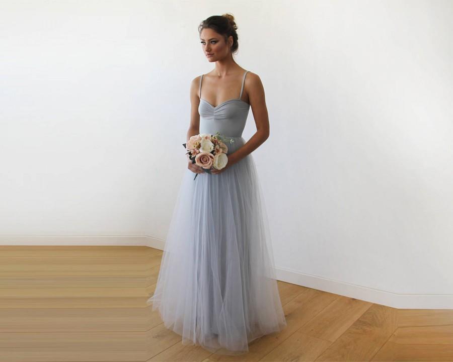 Mariage - Light Grey Maxi Ballerina Tulle Dress 1061