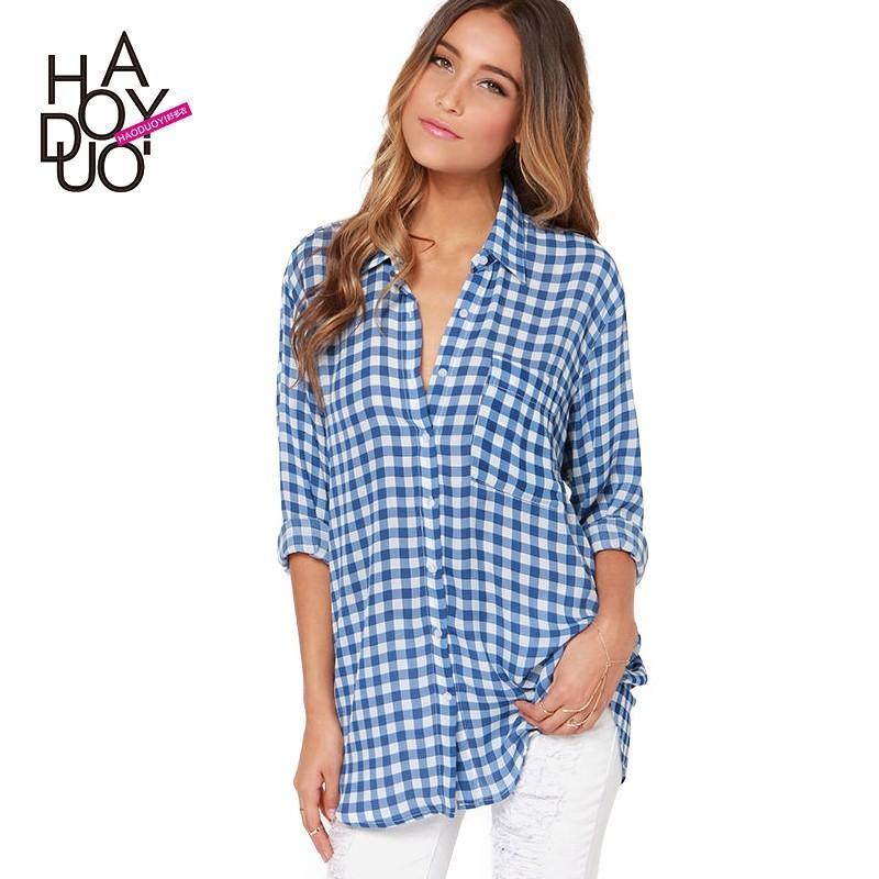 Wedding - Boyfriend Polo Collar Pocket Lattice 9/10 Sleeves Blue Blouse - Bonny YZOZO Boutique Store