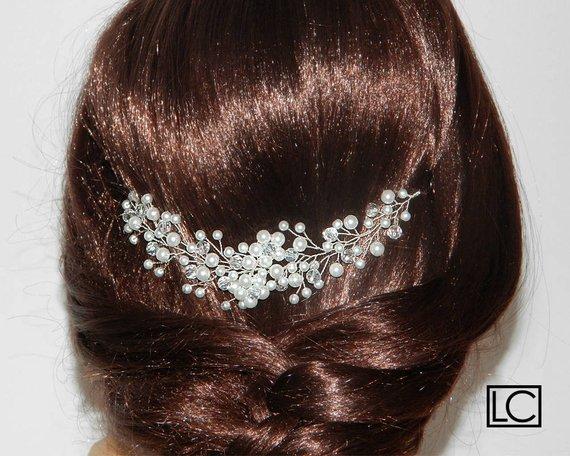 Mariage - Pearl Crystal Bridal Hair Vine, White Pearl Crystal Hair Piece, Bridal Floral Hair Jewelry, Bridal Pearl Headpiece, Pearl Crystal Wreath