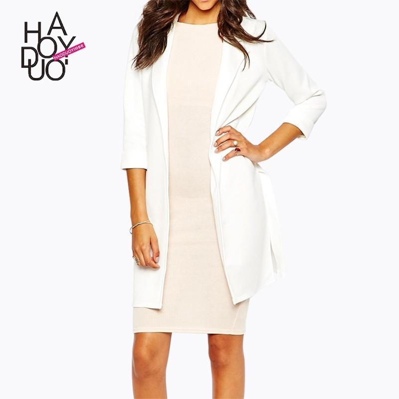 Свадьба - Ladies fall 2017 new professional women's slim cropped sleeves slit skirt suit jacket - Bonny YZOZO Boutique Store