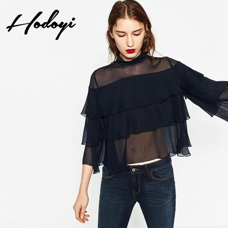 Wedding - Attractive Flare Sleeves Fine Lady Edgy Lace Chiffon Top T-shirt Top - Bonny YZOZO Boutique Store