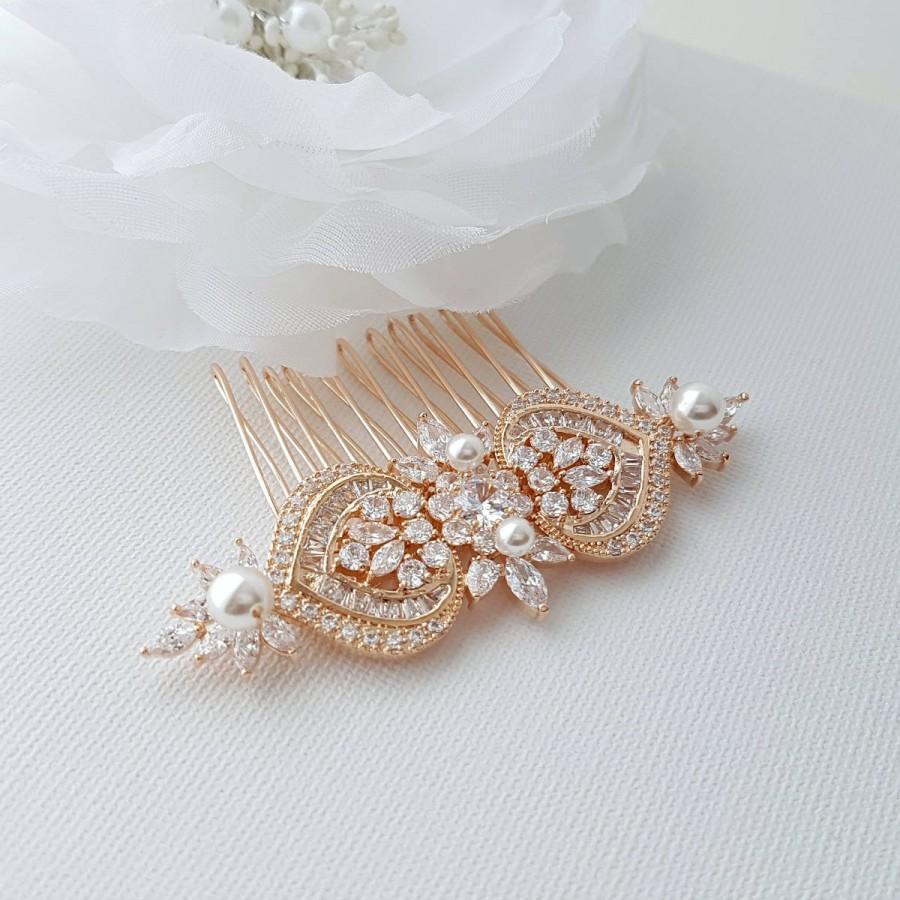 زفاف - Rose Gold Bridal Hair Comb, Wedding Hair Comb, Pearl Bridal Hair Piece, Crystal, Gold,Swarovski Pearls, Bride Hair Jewelry, Rosa