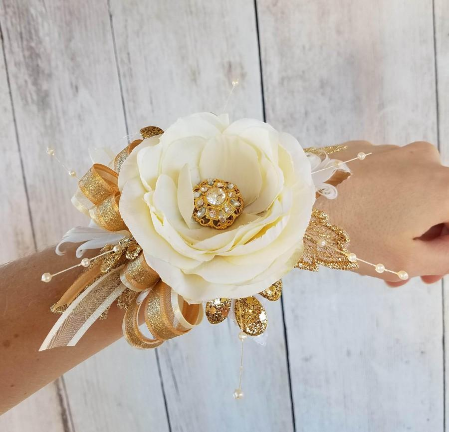 Wedding - Prom Gold & Ivory Gatsby Wrist Corsage with matching Boutonniere