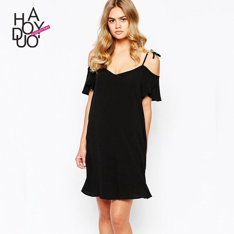 Wedding - Vogue Sexy Off-the-Shoulder One Color Fall Tie Short Sleeves Dress - Bonny YZOZO Boutique Store