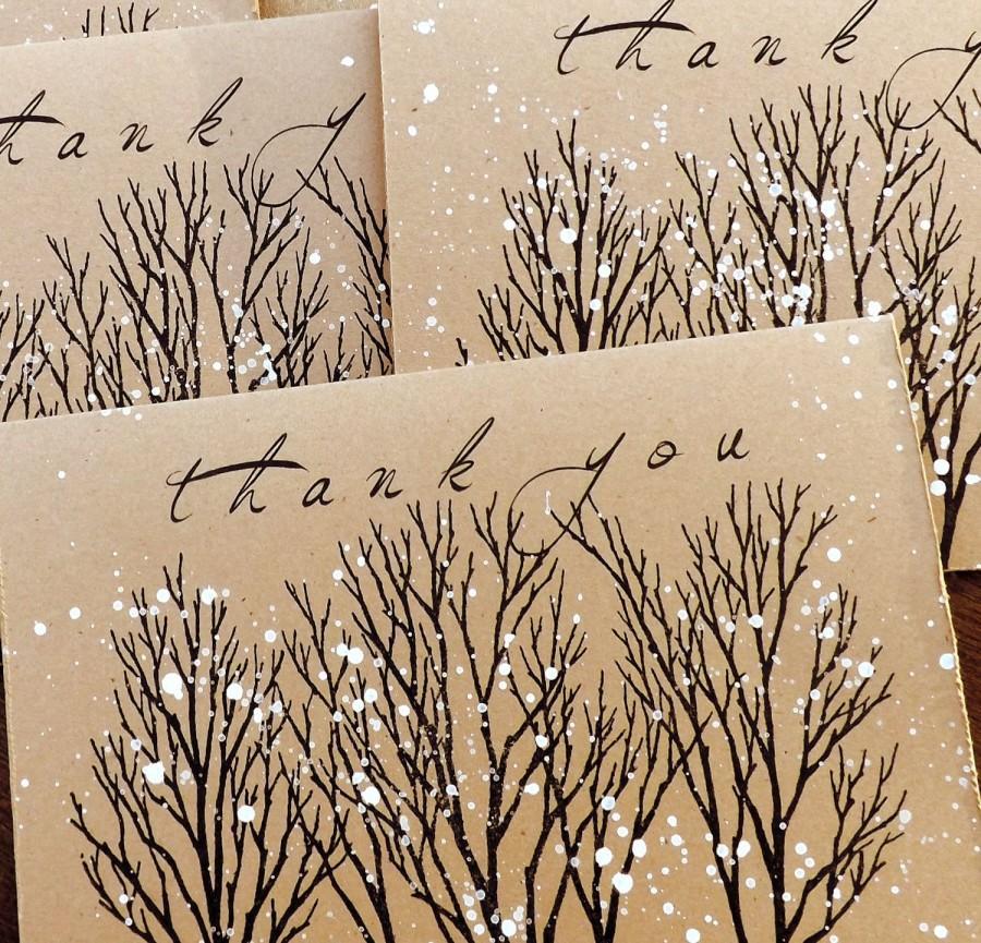 Hochzeit - winter thank you cards winter wedding thank you card wedding thank you cards hand made thank you cards rustic thank you cards nature thank