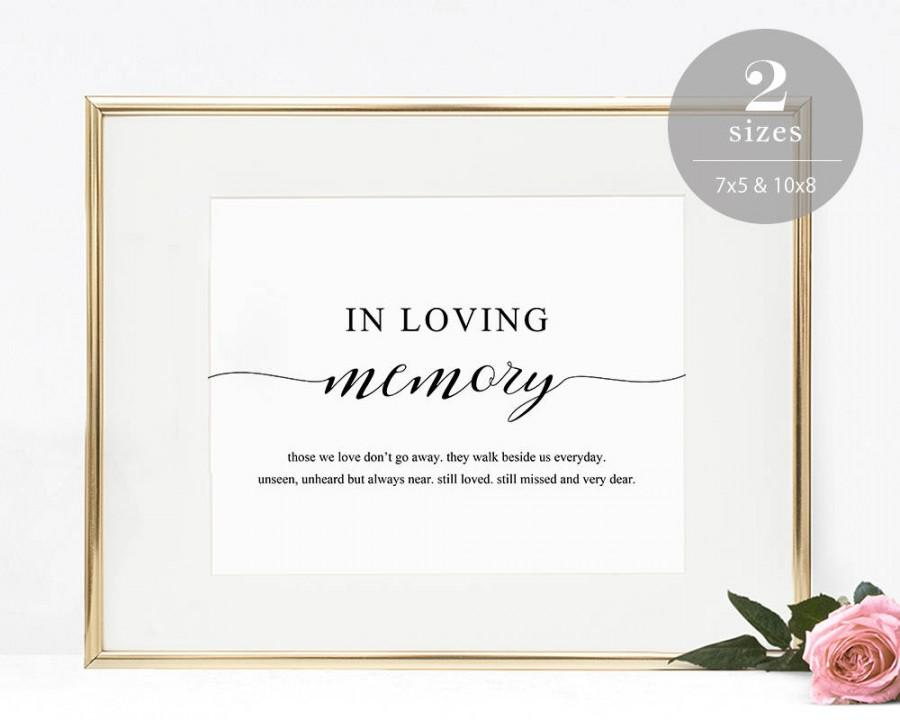 Wedding - In Loving Memory Sign Template, Printable In Memory Sign, Wedding Sign, Memorial Table Sign, Editable PDF, Instant Download #SPP007lm
