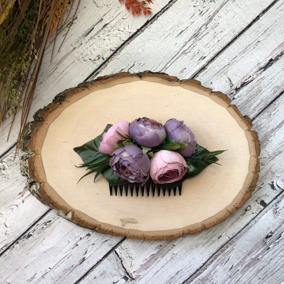 Свадьба - Dusty purple wedding comb Woodland comb Branch hair comb Purple veiled comb Custom bridal headpiece Bridesmaid comb Purple floral comb