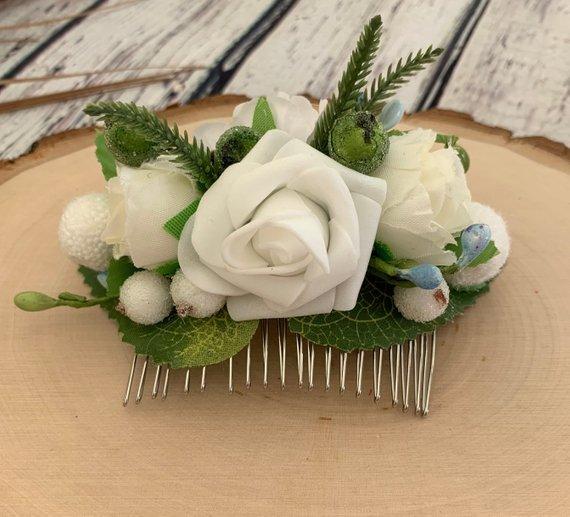 Свадьба - White rose Bridal hair comb Champagne hairpiece Flower hair comb Rustic flower comb Ivory hair piece Wedding hair comb Greenery hair comb