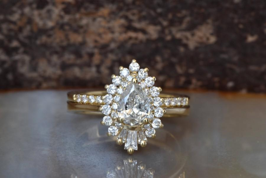 Wedding - Cluster wedding ring set-Baguette wedding bands women-Diamond engagement ring vintage-Gold ring-Promise ring-Pear shaped diamond ring