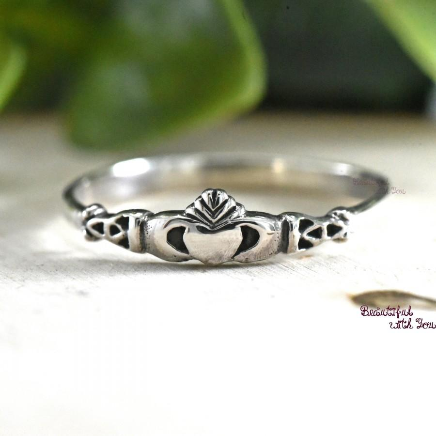 Wedding - Irish Claddagh Ring Mother and Daughter Jewelry Rings Love Loyalty and Friendship Sterling Silver Present Gift Idea for Girls Childrens