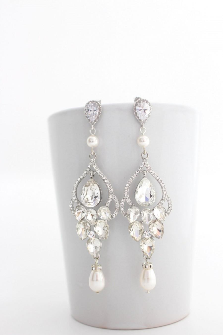 Hochzeit - Bridal Earrings Chandelier, Wedding Statement Earrings, Art Deco Wedding Earrings, Pearl Chandelier Earrings, Bridal Chandelier Earrings