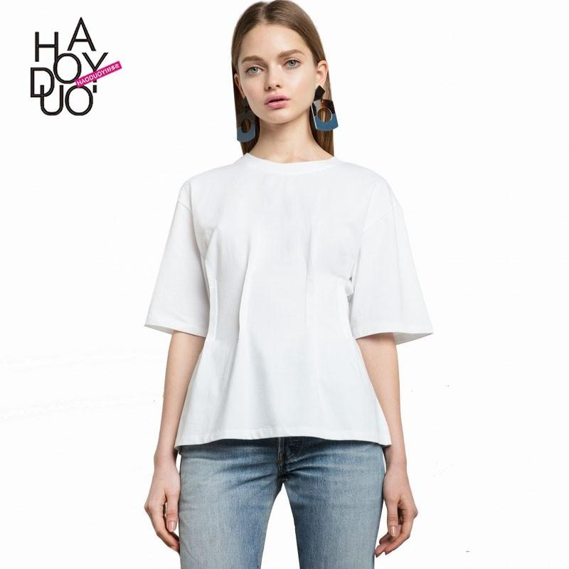 Свадьба - School Style Must-have Oversized Simple Ruffle 1/2 Sleeves Summer T-shirt - Bonny YZOZO Boutique Store