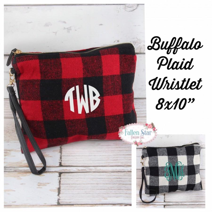 Свадьба - Buffalo plaid wristlet, buffalo plaid clutch, buffalo plaid purse, gifts for her, gift under 20, ladies Christmas gifts
