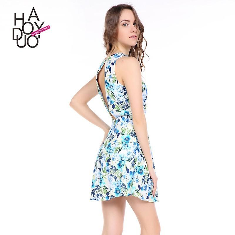Wedding - Sweet Printed Hollow Out Slimming Floral Summer Dress - Bonny YZOZO Boutique Store