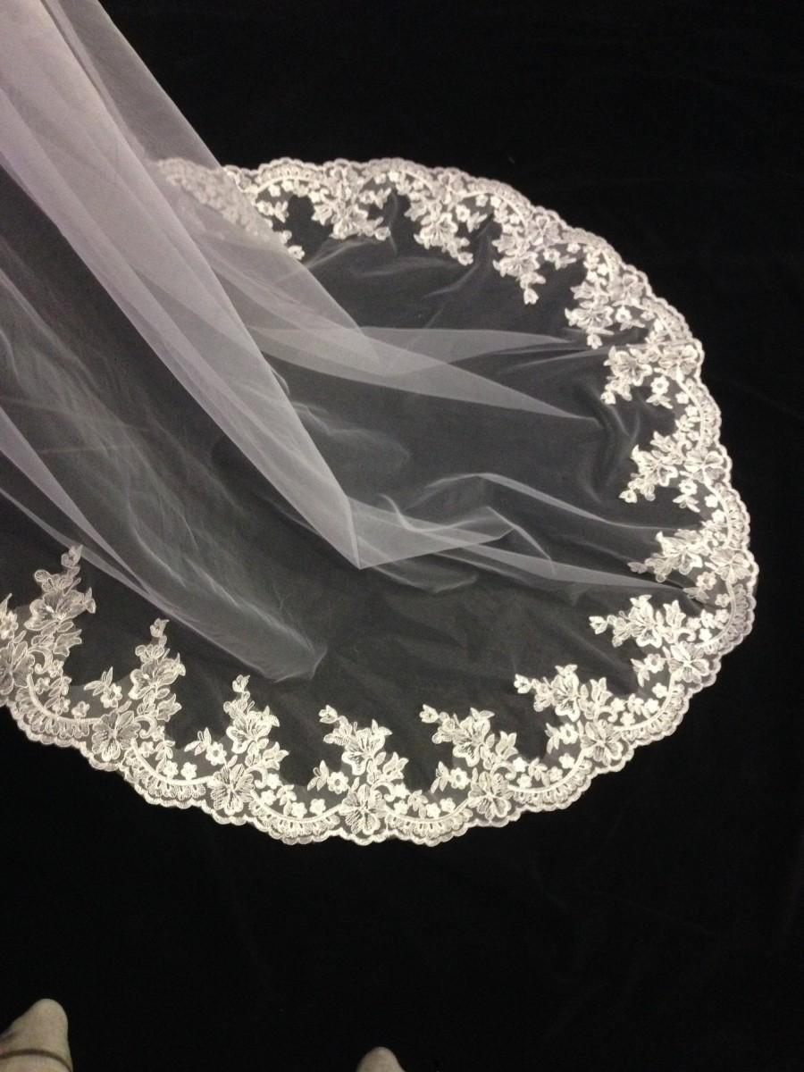 Mariage - floral veil, Drape Cathedral lace veil, beads lace veil, lace edge veil, soft tulle long veil, fingertip veil lace, veil cathedral floral