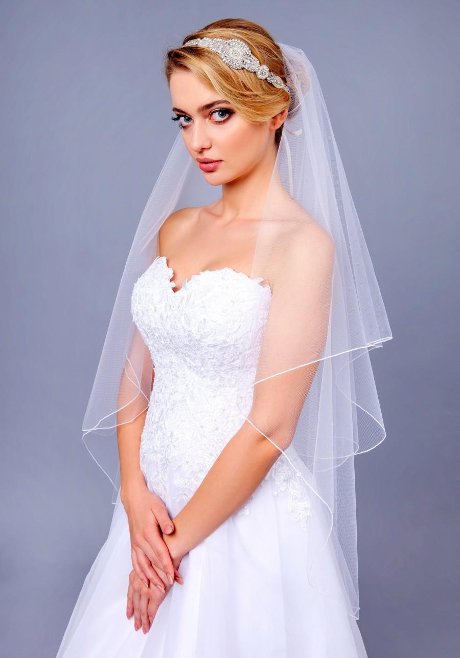 Свадьба - Pencil Edge Soft Veil Wedding Bridal Veil  ivory Pencil veil bridal Veil Elbow Fingertip Chapel Cathedral length single double layer veil