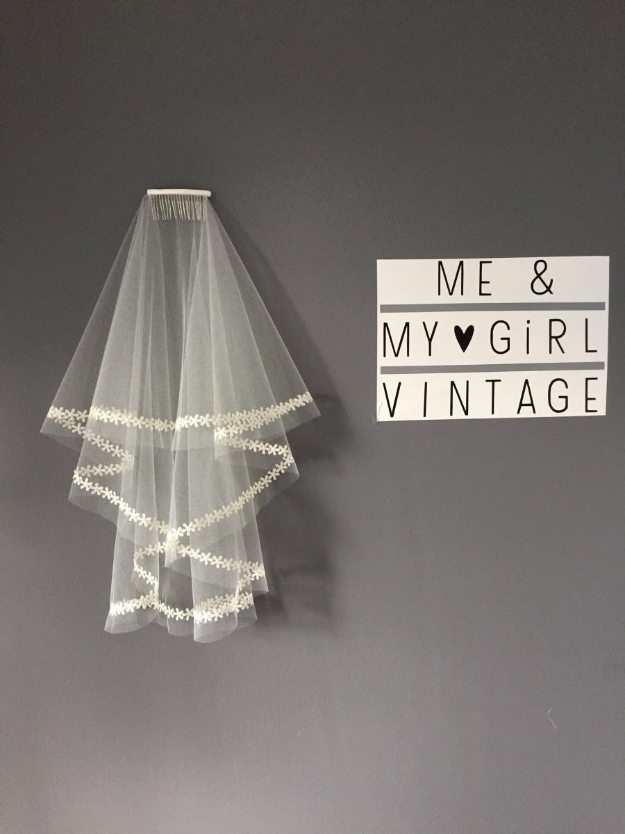 Hochzeit - Cut edged veil with Delicate  Flower Lace edging