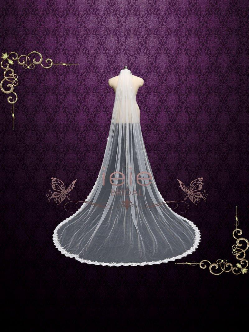Свадьба - Cathedral Length Wedding Veil with Small Eyelash Lace from Midway