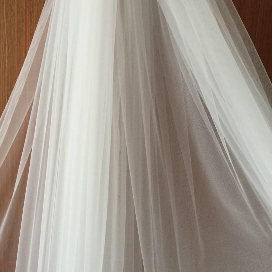 Wedding - 300cm wide soft flowy tulle lace fabric for bridal veils in off white champagne, wedding gown lining fabric